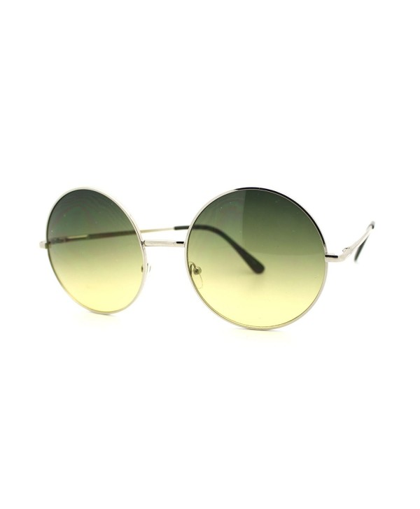 48dc8742ff3b Women's Round Oversized Circle Lens Sunglasses Silver Metal - Silver ...
