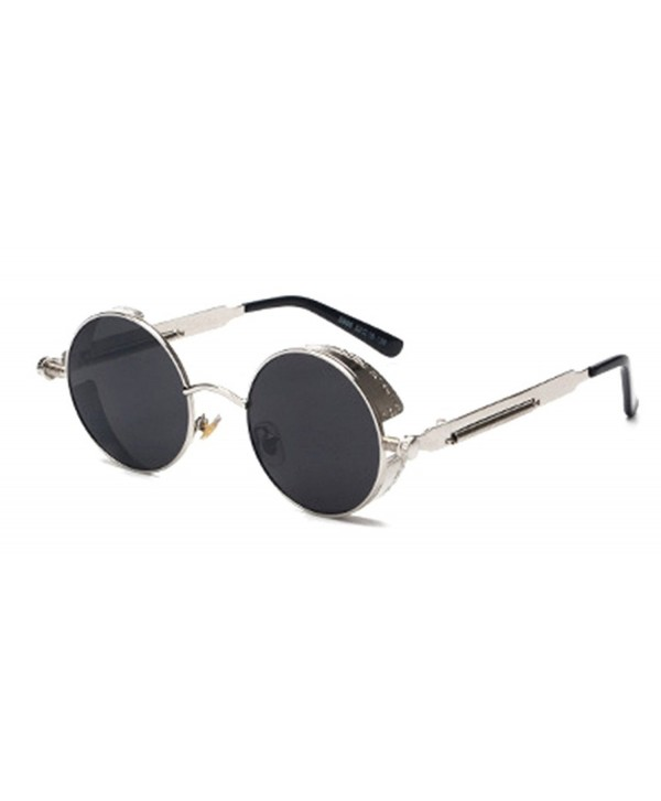 40b054167f Retro Gothic STEAMPUNK Round Sunglasses Metal Frame Mirrored Circle ...