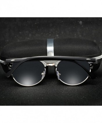 ad340b5d97 Semi-Rimless Round Polarized Sunglasses - Black Frame Black Lens ...