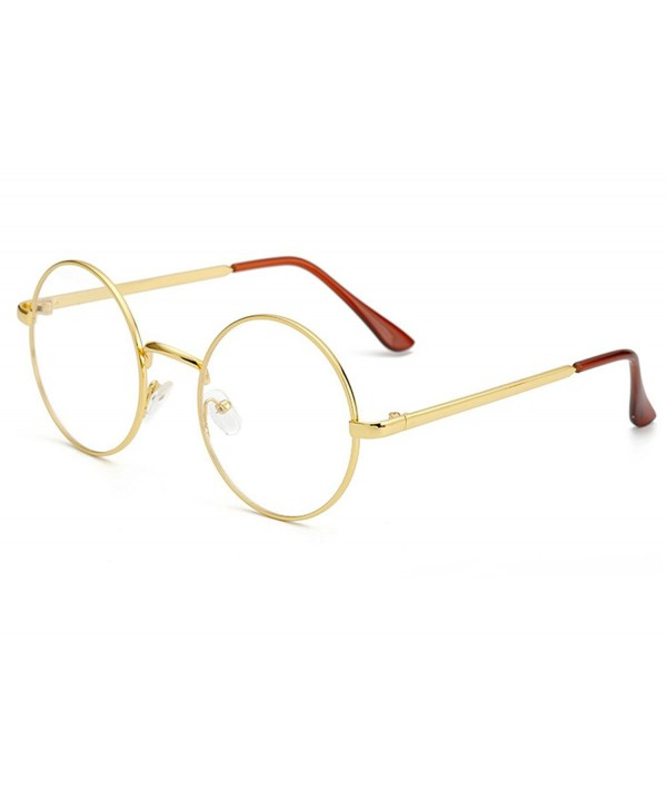 Non-Prescription Round Circle Frame Clear Lens Glasses - Gold/Clear ...
