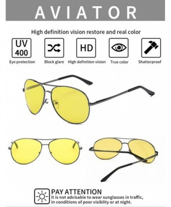 e7bed5be72 HD Night Vision Glasses for Driving Yellow Lens Aviator Anti glare ...