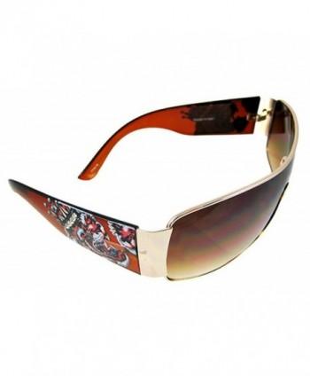 Tattoo Aviator Sunglasses Goldtone Frames