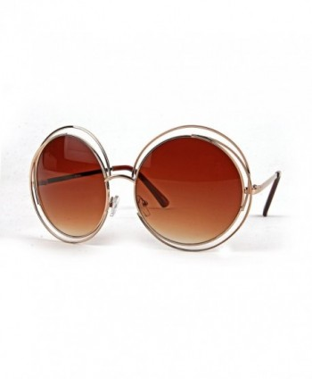 Womens Oversized Double Sunglasses Gold GradientBrown
