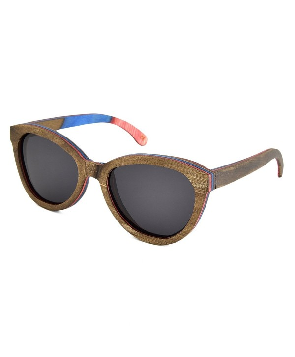 7c222cd5db Polarized Sunglasses Brown Skateboard Wood Frame For Women with ...