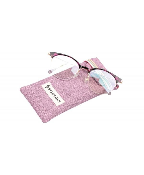 87f54850c8432 ... Retro Stylish Eyeglasses Semi-rimless Cat Eye Reading Glasses - Purple  Tortoise - CM17Z3NS7ZM. SOOLALA Stylish Clubmaster Eyeglasses Semi rimless