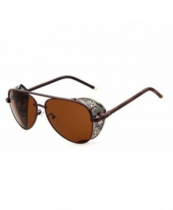 TELAM Steampunk Leather Mirror Sunglasses