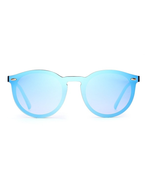 4a99ffb125 ... One Piece Round Eyeglasses for Women Men - Black   Mirror Blue -  CK186NC669Z. Mirrored Rimless Sunglasses Reflective Eyeglasses