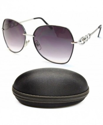 Designer Eyewear Butterfly Sunglasses Silver Smoked