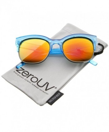 zeroUV Half Frame Two Toned Sunglasses Blue Gunmetal