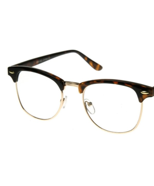b84bf26c021 ... Vintage Retro Classic Half Frame Horn Rimmed Clear Lens Glasses -  Tortoise Brown - C517Y7OD3A7. AStyles Vintage Classic Glasses Tortoise