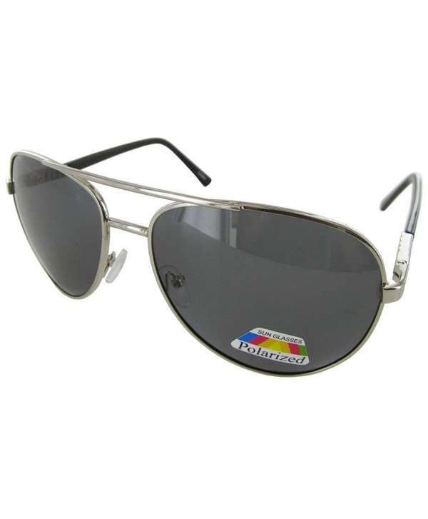 Polarized Eyewear Aviator Sunglasses Silver Smoke