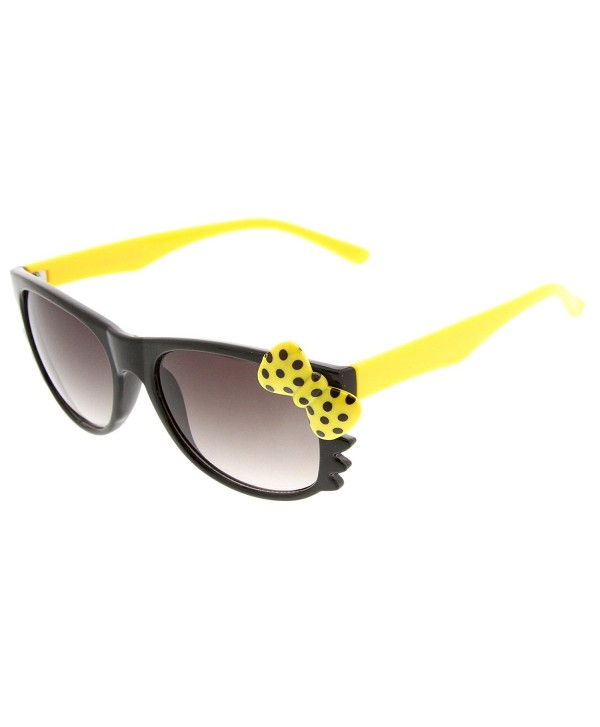 45b7fcc8ff ... Two-Tone Color Kitty-Cat Horn Rimmed Sunglasses - Black-yellow Yellow  Bow - CC11DHWOGRX. zeroUV Polka Dot Kitty Cat Sunglasses Black Yellow