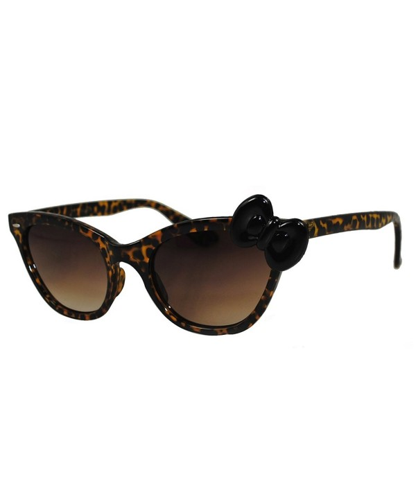 bff1741a123 Hello Kitty Women Cat Eye Leopard Frame Sunglasses with Bow - Yellow ...