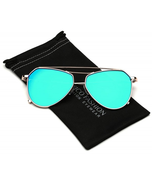 Reflective Double Bridge Aviator Sunglasses