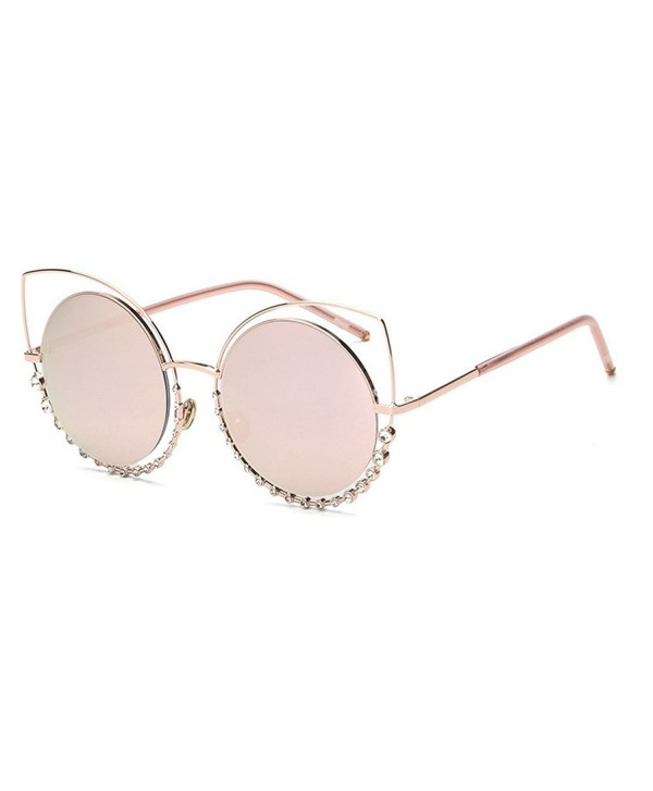 a7dbd84d348 MINCL/Women Cat eye Metal Frame Round Lens Western Bling Ladies Sunglasses  - Gold/Pink - CG12NUZ055F