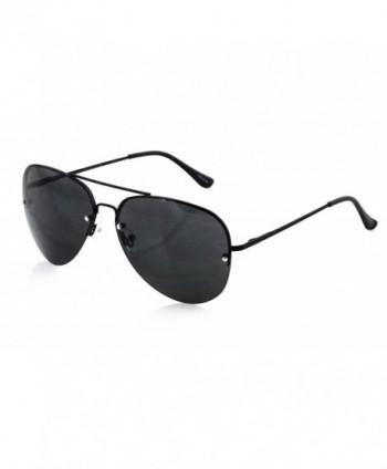 Elite Semi-Rimless OVERSIZE Aviator Style Metal Frame Oceanic Lens Sunglasses