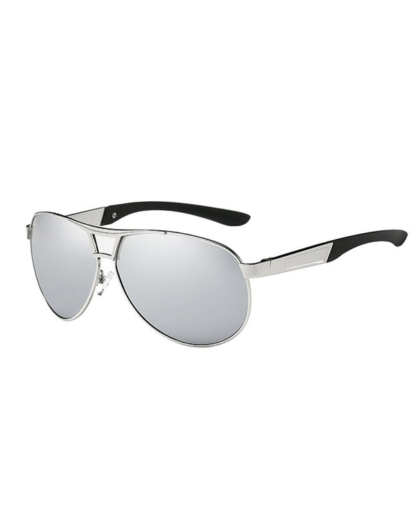 5a09fd723dc ... Metal Frame Polarized Mirror Lens Sunglasses for Driving - Silver -  C112N8AVE2G. HDCRAFTER Classic Aviator Polarized Sunglasses