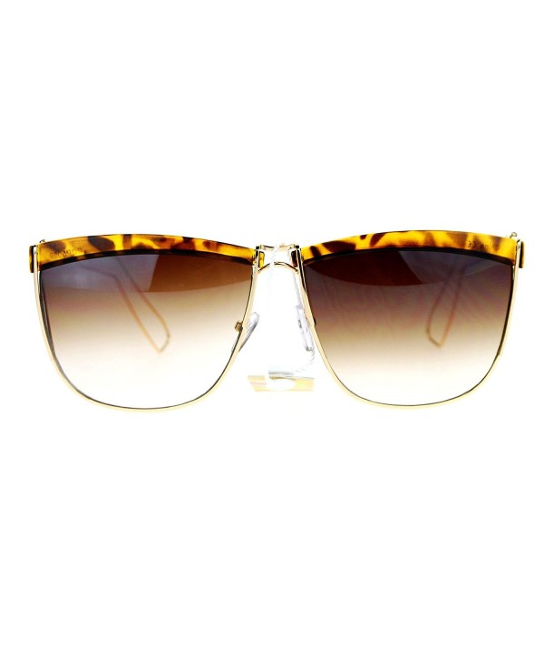28441f3f83 Eye Brow Half Rim Wire Frame Rectangular Mob Sunglasses - Gold ...
