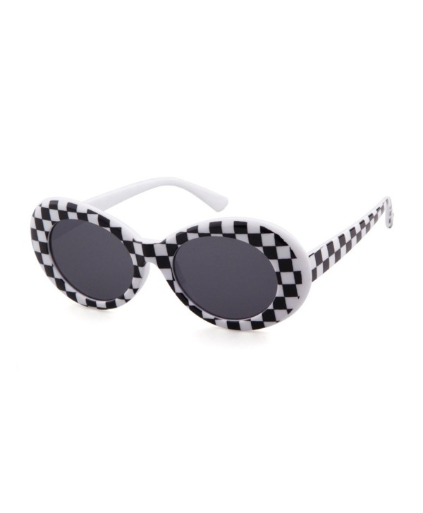 28ca74fd39 ... Bold Retro Oval Mod Thick Frame Sunglasses Clout Goggles with Round Lens  - Checkered - C6187K0WQXK. Retro Thick Frame Sunglasses Goggles