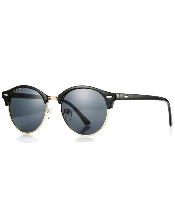 78e5ba8fbe ... Classic Semi Rimless Polarized Clubmaster Sunglasses with Metal Rivets  - Clubmaster Round Black - C412LKQK1H1. Pro Acme Polarized Clubmaster  Sunglasses