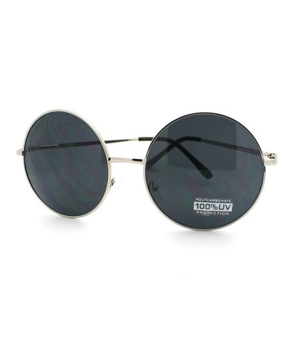 Super Oversize Sunglasses Circle Silver