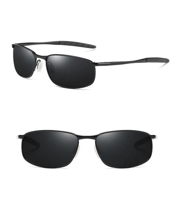 f86db2213eb Rectangular Sunglasses Metal Polarized Square - Black Lens Black ...