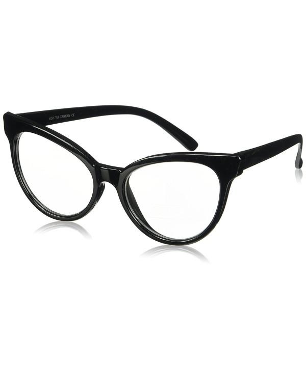 38f05c4279d Non-Prescription Cat Eye Clear Lens Glasses for Women - Full Black ...
