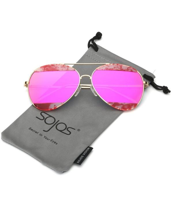 Double Mirrored Aviator Womens Sunglasses