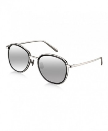 Titanium Sunglasses Wenlenie Aviator Mirrored