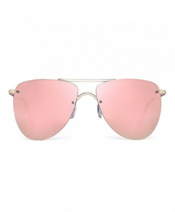 Polarized Rimless Aviator Sunglasses Mirrored