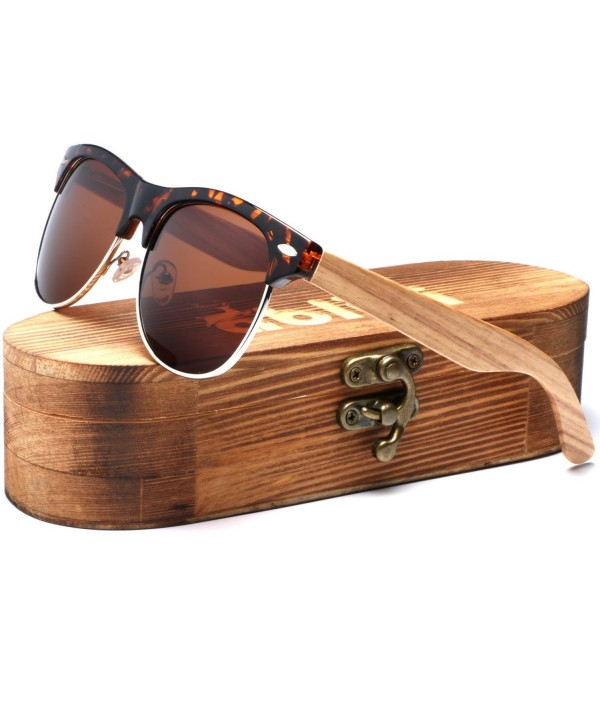 5695d0c0c41fa Bamboo Wood Clubmaster Sunglasses with Polarized Lenses in Original ...