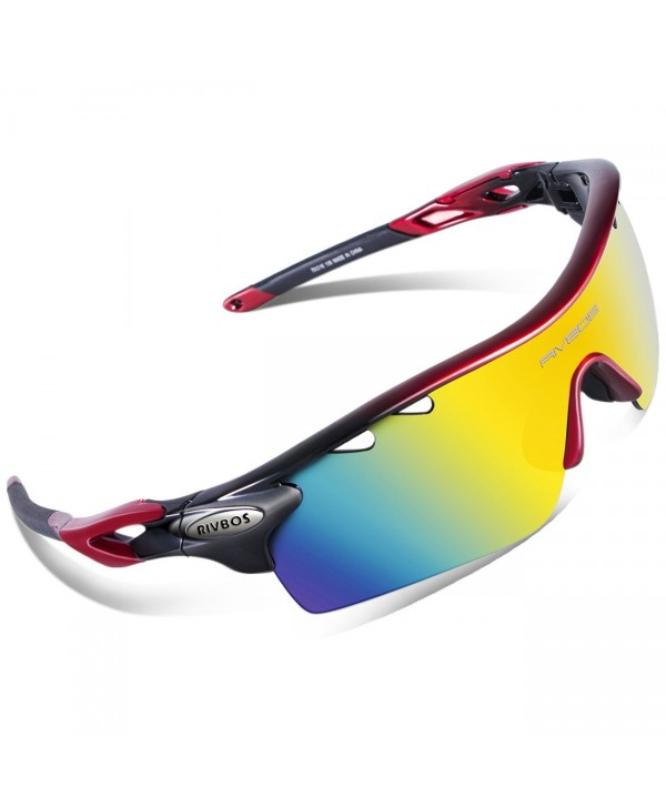 RIVBOS Polarized Sunglasses Interchangeable 801 Red