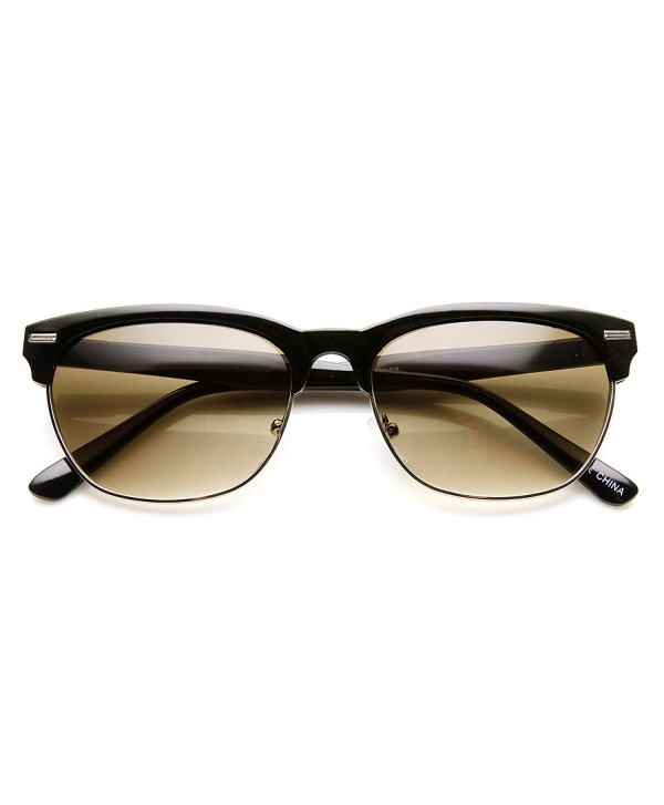 eb8a645ae6 Retro Fashion Dapper Oval Horn Rimmed Half Frame Sunglasses - Black ...
