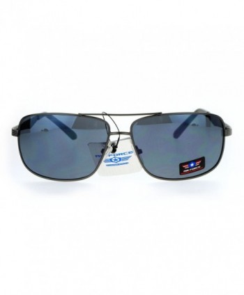 Narrow Rectangular Aviator Sunglasses Gunmetal