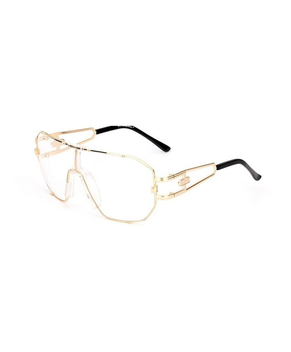 Unisex Oversized Rimless Sunglasses gold clear