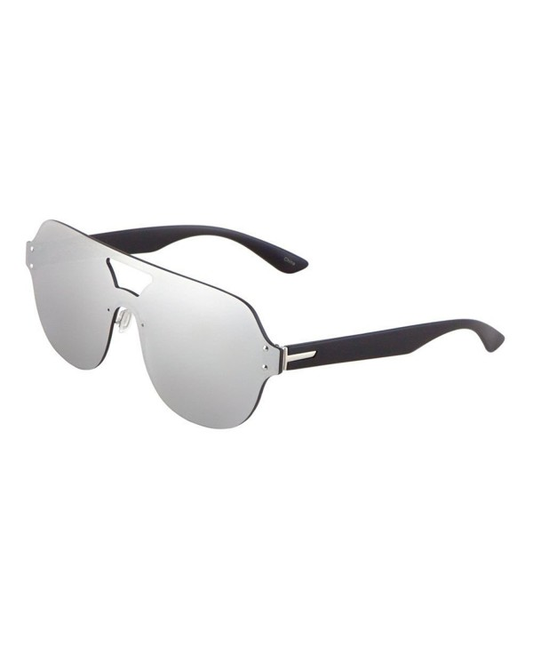 f2b3369f3e5 Rimless Oversized Flat Top Shield Round Aviator Sunglasses - Black ...
