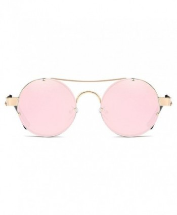 ef853928cd7f5 Spring Temple Rimless Oversized Punk Round Sunglasses - Pink Mirror ...