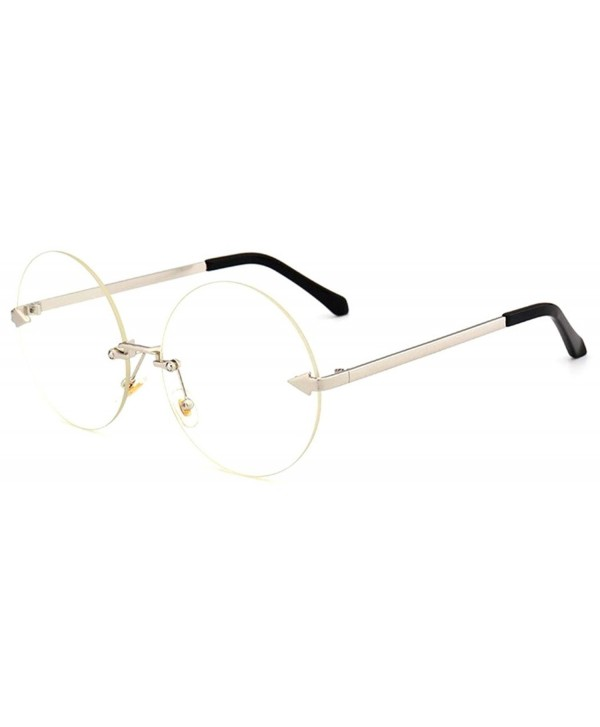 88a668b9074 Oversized Arrow Rimless Round Sunglasses for Men and Women Frameless ...