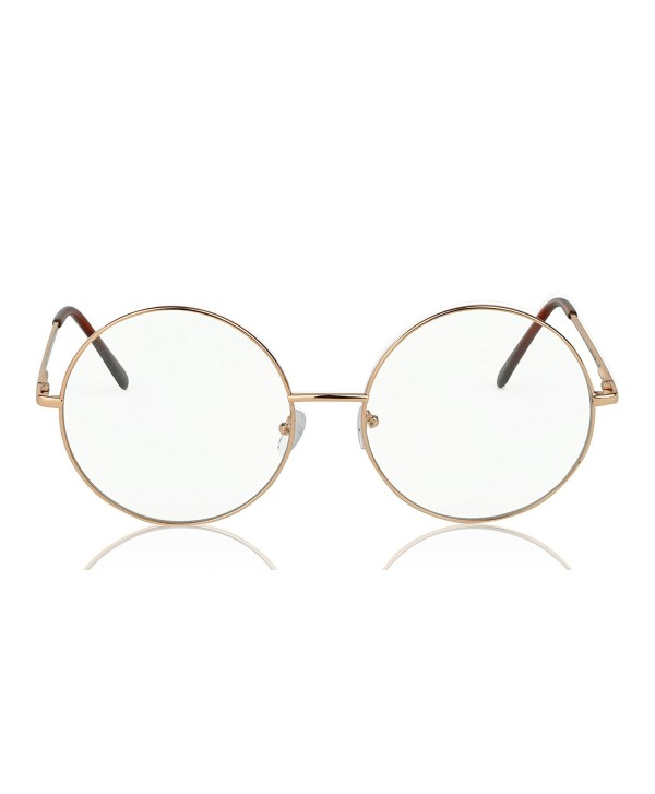 0275ab9c9a Clear Glasses Round Sunglasses For Women and Men Circle Sun Glasses -  Yellow Gold/Clear - CE186XHWHTS
