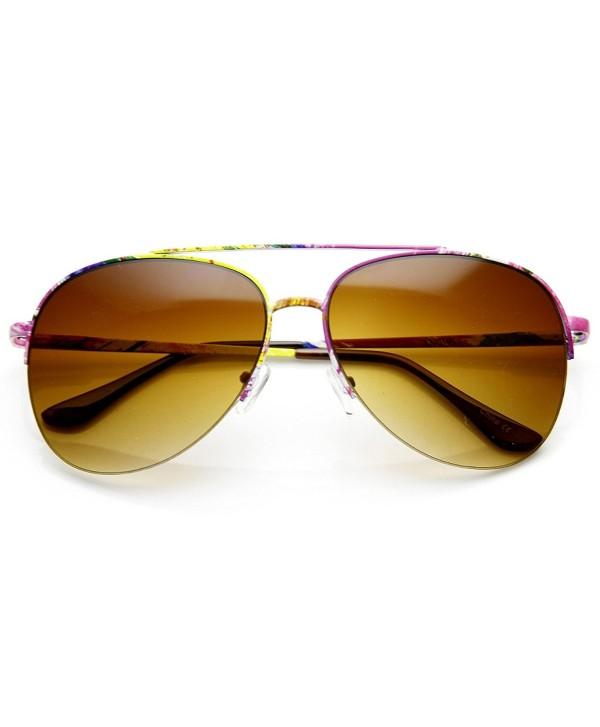 zeroUV Colorful Semi Rimless Aviator Sunglasses