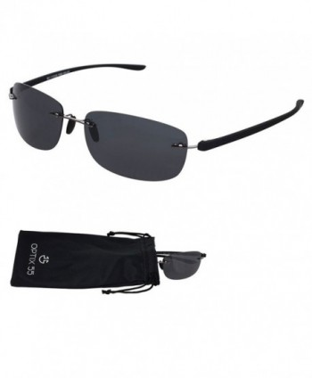 Rimless Polarized Sunglasses Microfiber Pouch