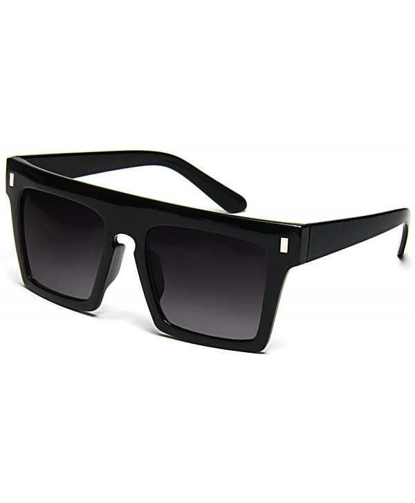 c2758c1d6c Flat Top Sunglasses Retro Designer Square Gradient Lens Black Frame ...