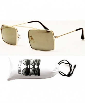 Style Vault Rectangular Sunglasses Gold Brown