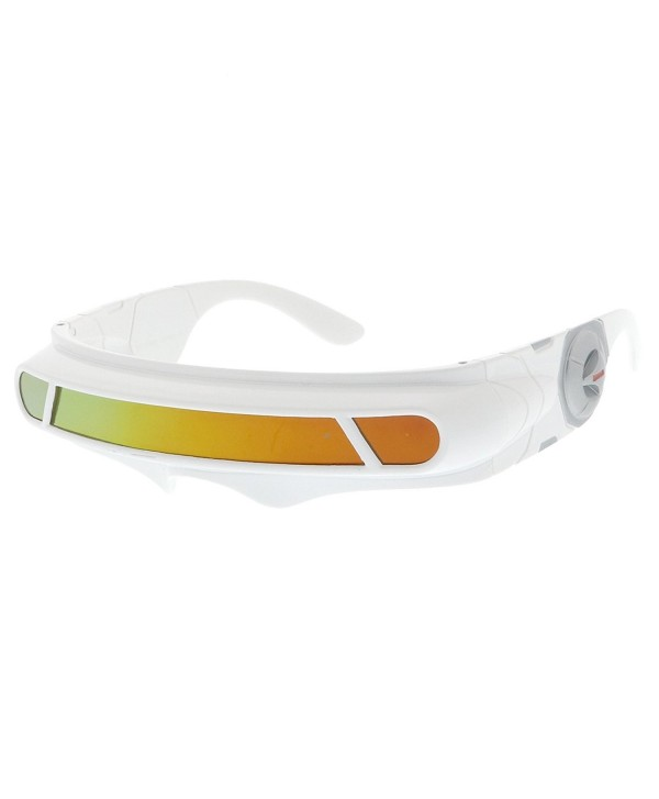 30a33f87fb ... Shield Colored Mirror Mono Lens Wrap Sunglasses 147mm - White   Orange  Mirror - C917YUXGYDO. sunglassLA Futuristic Cyclops Colored Sunglasses