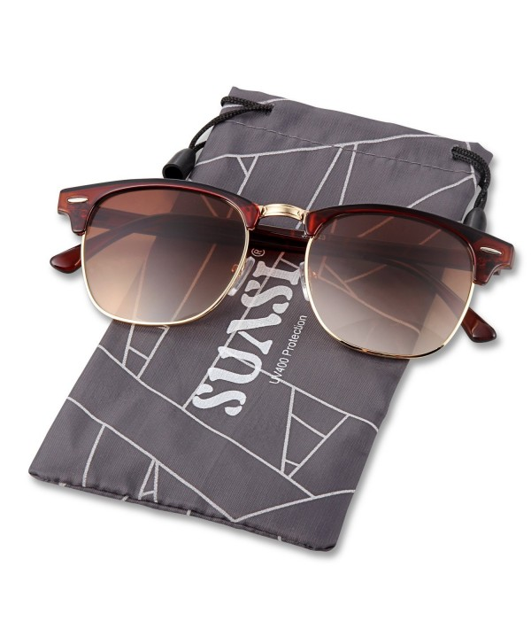 SUASI Rimmed Aviator Sunglasses Rivets