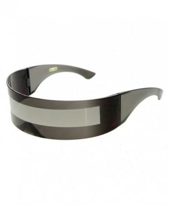 zeroUV Futuristic Monoblock Sunglasses Silver Mirror