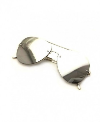 Large Aviator Flat Mirror Sunglasses