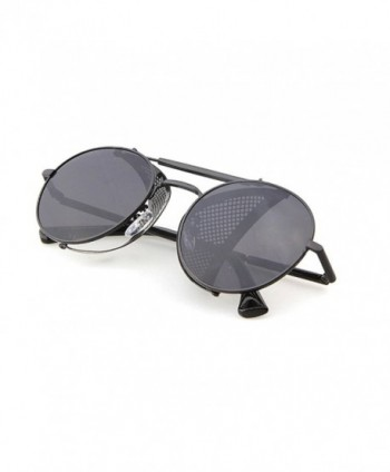 3a4599aff73 STY056 Metal Frame Mesh Fold-in Side Shield Round 52mm Sunglasses ...