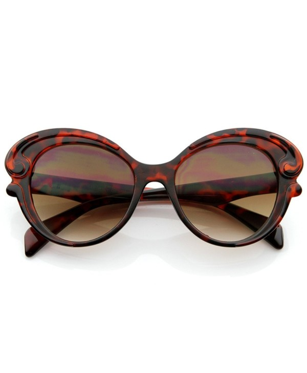 Designer Inspired Butterfly Baroque Style Womens Oversized Fashion Sunglasses Havana Cu11988comj