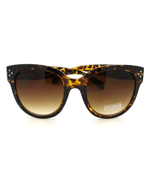 e0127f1bc9 Horn Rimmed Round Sunglasses with Signature 3 Metal Dot Front Side Trims -  Tortoise - CR11C18AC1H